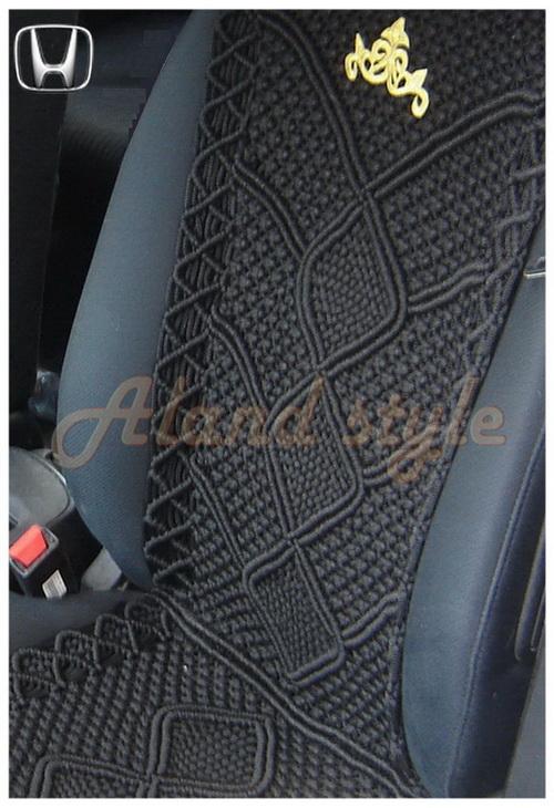 Оригинальный подарок водителю - черные плетеные накидки-макраме