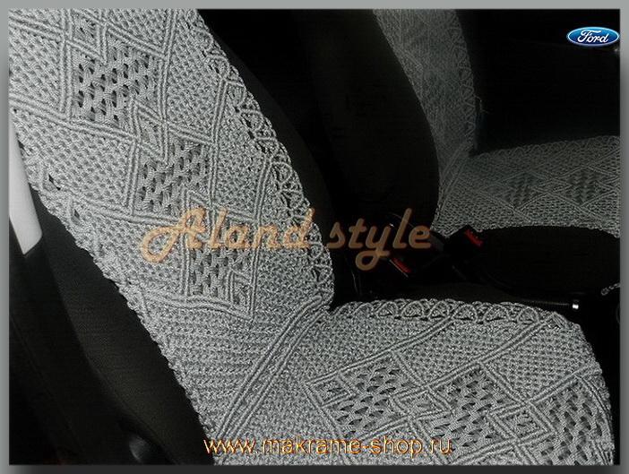 Заказать плетеные накидки серого цвета на кожаные сиденья автомобиля