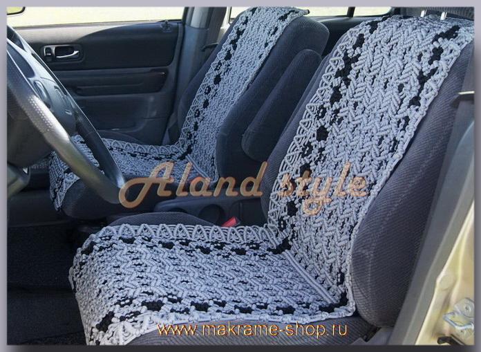 Заказать плетеные накидки на кожаные сиденья автомобиля с эмблемой