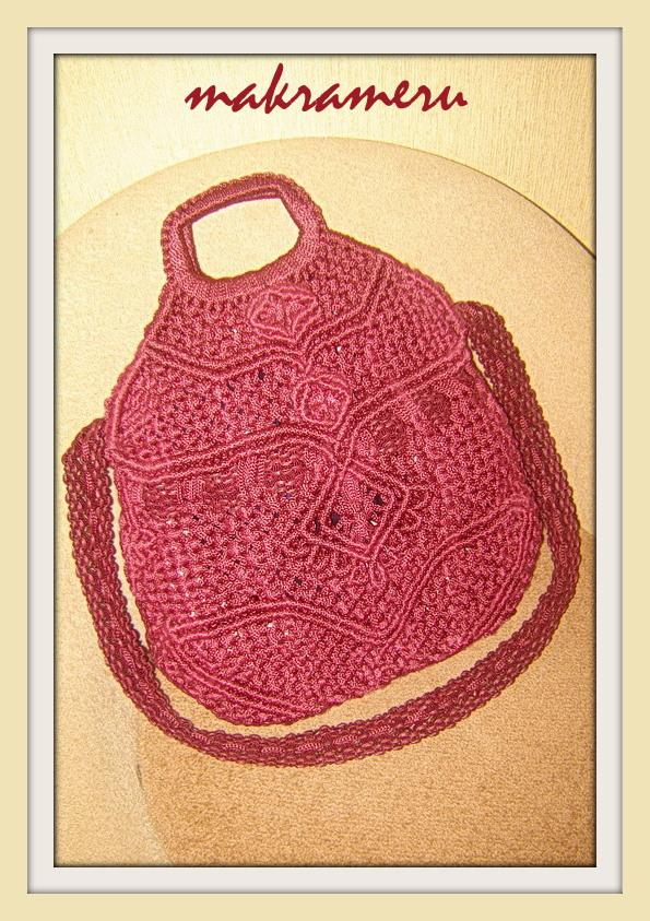 Купить сумку-макраме бордо