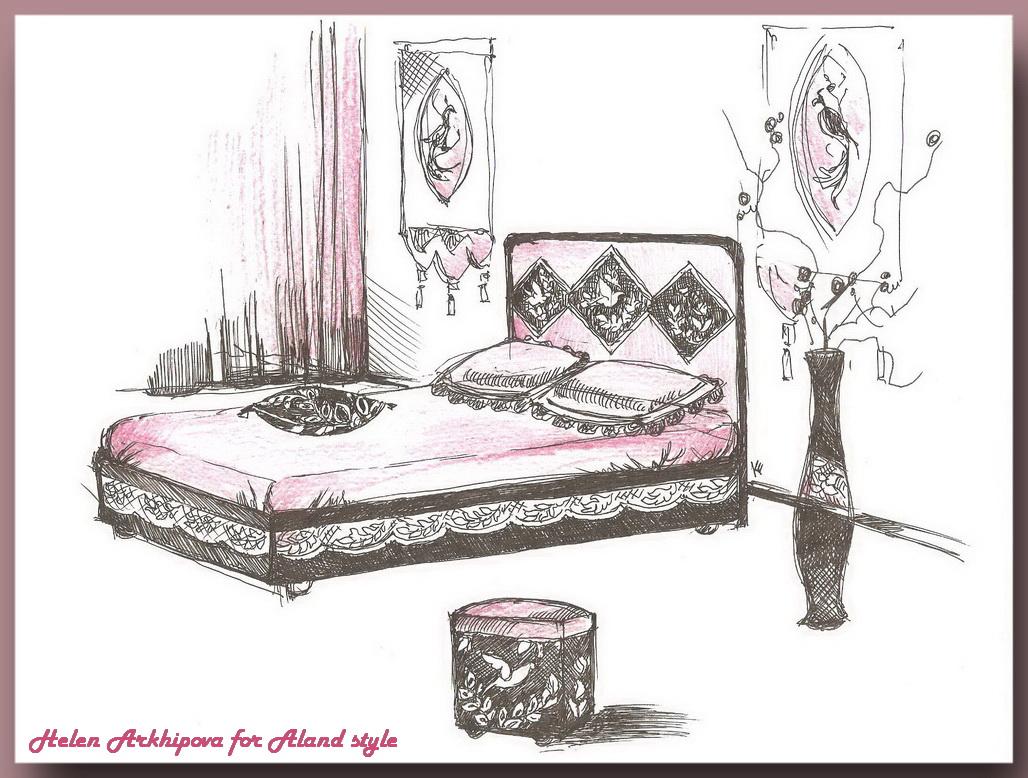1 Вариант интерьера спальной в стиле макраме