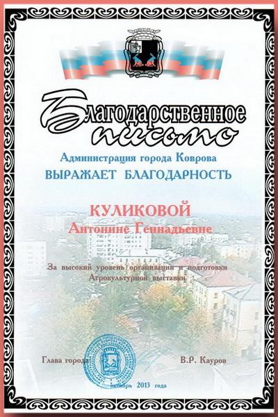 Благодарственное письмо Администрации г.Коврова