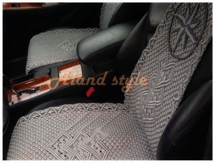 Накидки-макраме серые на сиденья авто