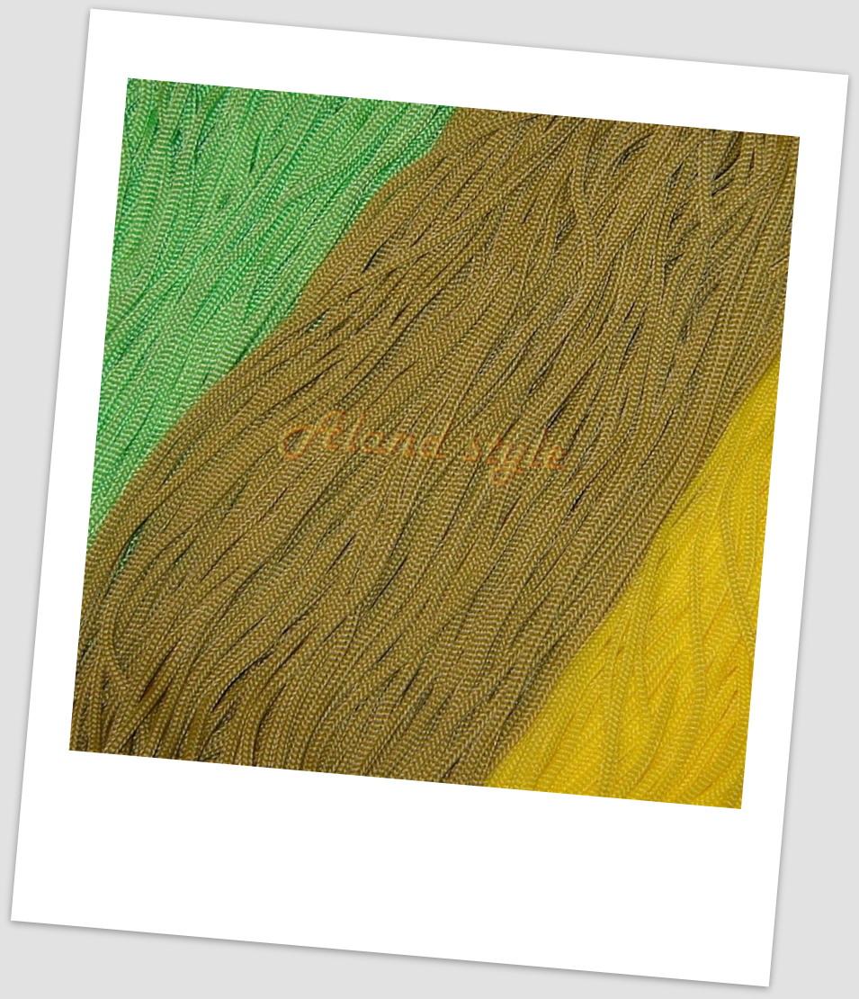 Шнуры для макраме: желтый, зеленый, бронза